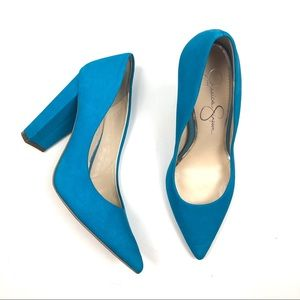 JESSICA SIMPSON chunky heels suede blue pointed